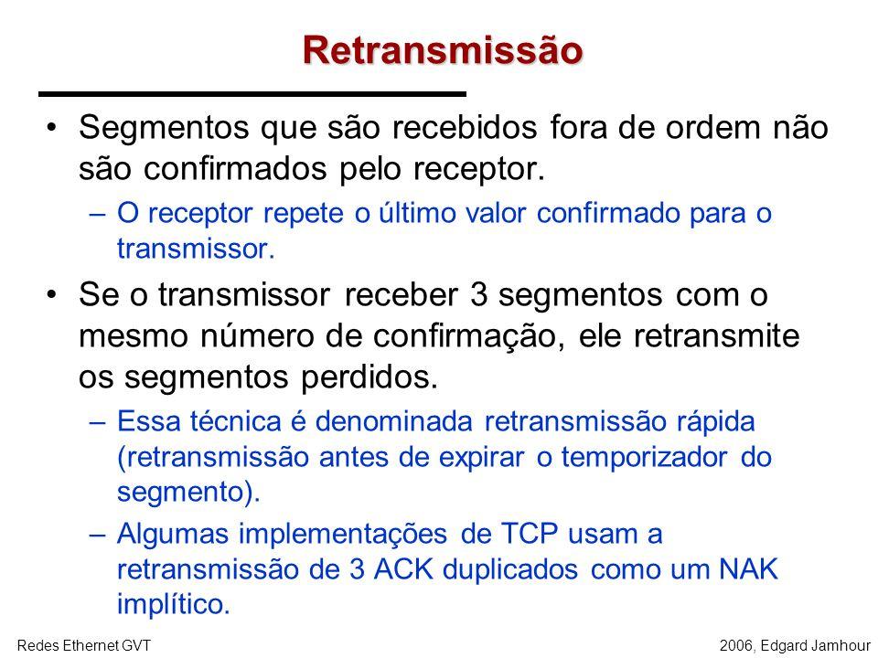 2006, Edgard JamhourRedes Ethernet GVT Retransmissão A técnica de retransmissão do TCP é o reconhecimento positivo com temporizadores. –O TCP não usa