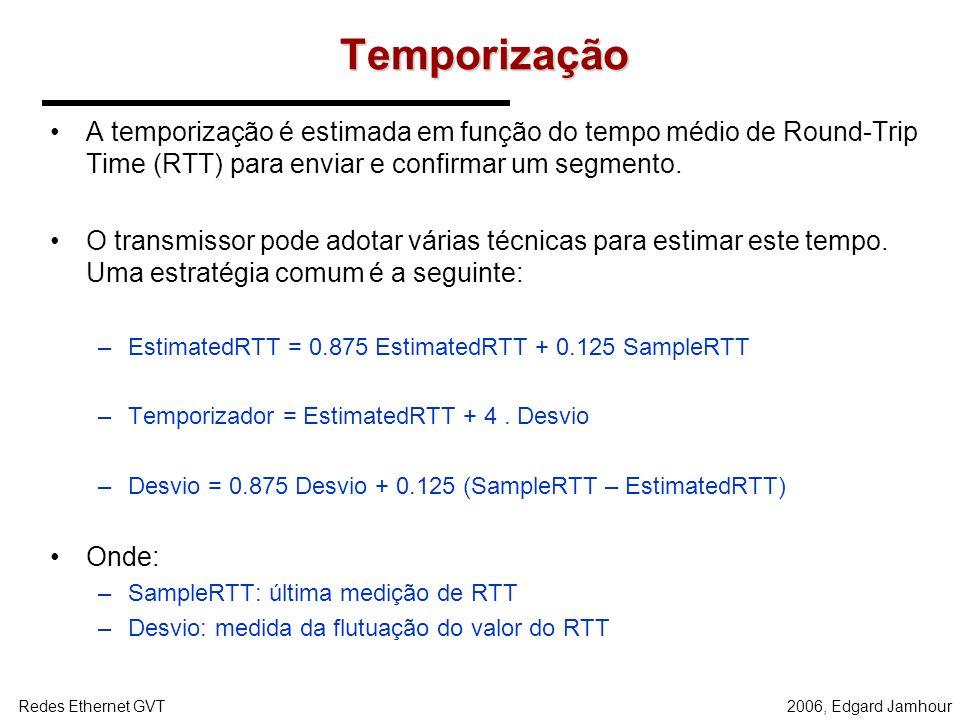 2006, Edgard JamhourRedes Ethernet GVT Retransmissão Segmentos que são recebidos fora de ordem não são confirmados pelo receptor. –O receptor repete o