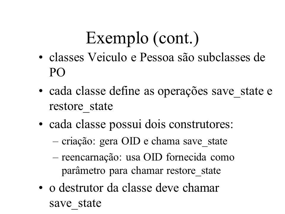 Exemplo (cont.) classes Veiculo e Pessoa são subclasses de PO cada classe define as operações save_state e restore_state cada classe possui dois const