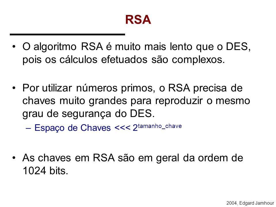 2004, Edgard Jamhour RSA (Rivest, Shamir, Adleman) Sejam p, q e e números primos (> 512 bits). Calcula-se: –n = p.q e ed = 1 mod (p-1)(q-1) As chaves
