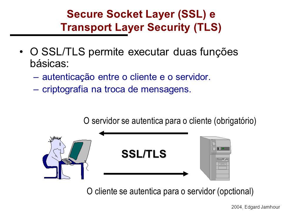 2004, Edgard Jamhour TLS Os objetivos do TLS são: –Segurança criptográfica entre dois pontos. –Interoperabilidade Fabricantes diferentes –Extensibilid