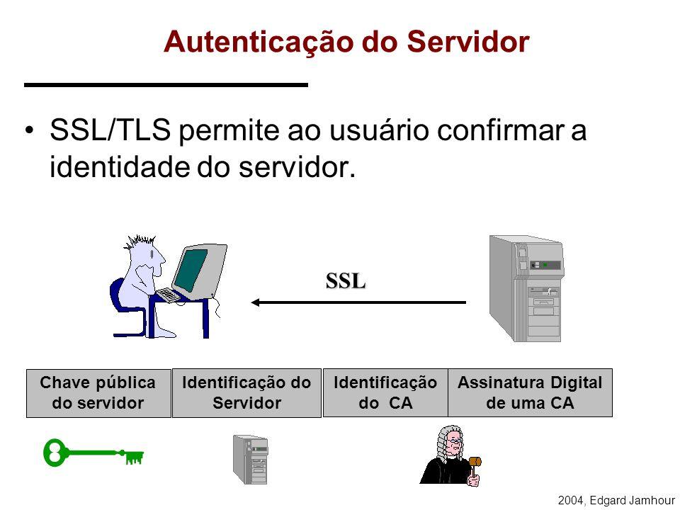 2004, Edgard Jamhour Secure Socket Layer (SSL) e Transport Layer Security (TLS) O SSL/TLS permite executar duas funções básicas: –autenticação entre o