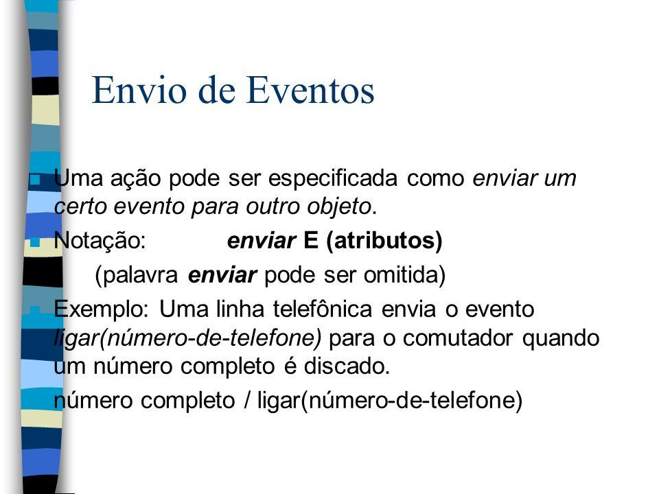 Envio de Eventos n Uma ação pode ser especificada como enviar um certo evento para outro objeto.