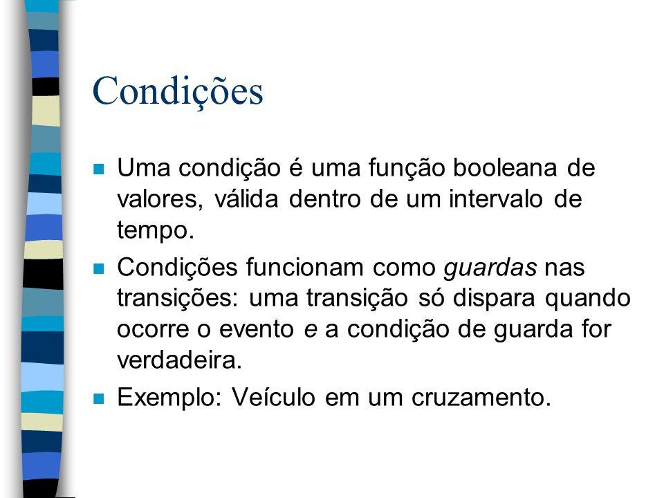 Condições n Uma condição é uma função booleana de valores, válida dentro de um intervalo de tempo.