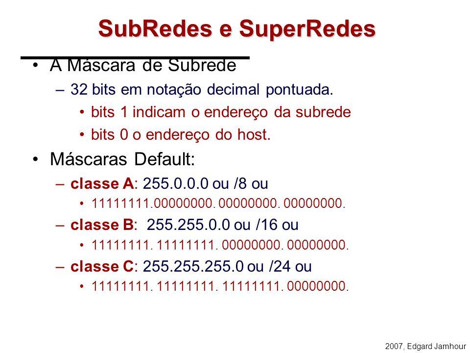 2007, Edgard Jamhour Como atribuir IPs para rede abaixo?... 150 computadores SÃO PAULO... 150 computadores DUAS CLASSES C 512 endereços... 300 computa
