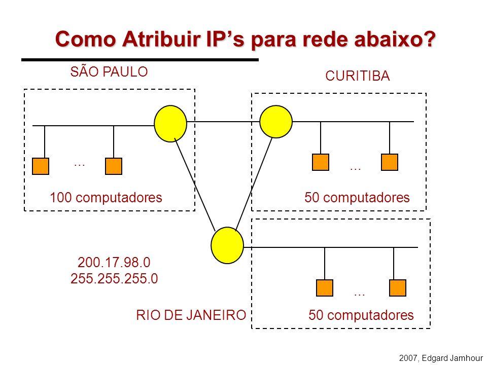 2007, Edgard Jamhour SubRedes e SuperRedes A Máscara de Subrede –32 bits em notação decimal pontuada. bits 1 indicam o endereço da subrede bits 0 o en