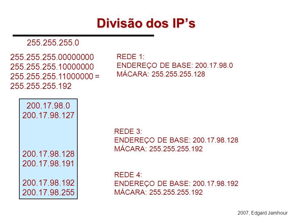 2007, Edgard Jamhour Como Atribuir IPs para rede abaixo?... 100 computadores50 computadores... SÃO PAULO CURITIBA 50 computadores... RIO DE JANEIRO 20