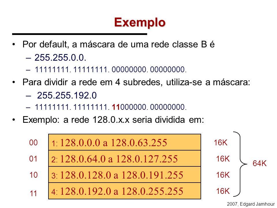 2007, Edgard Jamhour Divisão dos IPs 200.17.98.0 200.17.98.127 200.17.98.128 200.17.98.191 200.17.98.192 200.17.98.255 REDE 1: ENDEREÇO DE BASE: 200.1