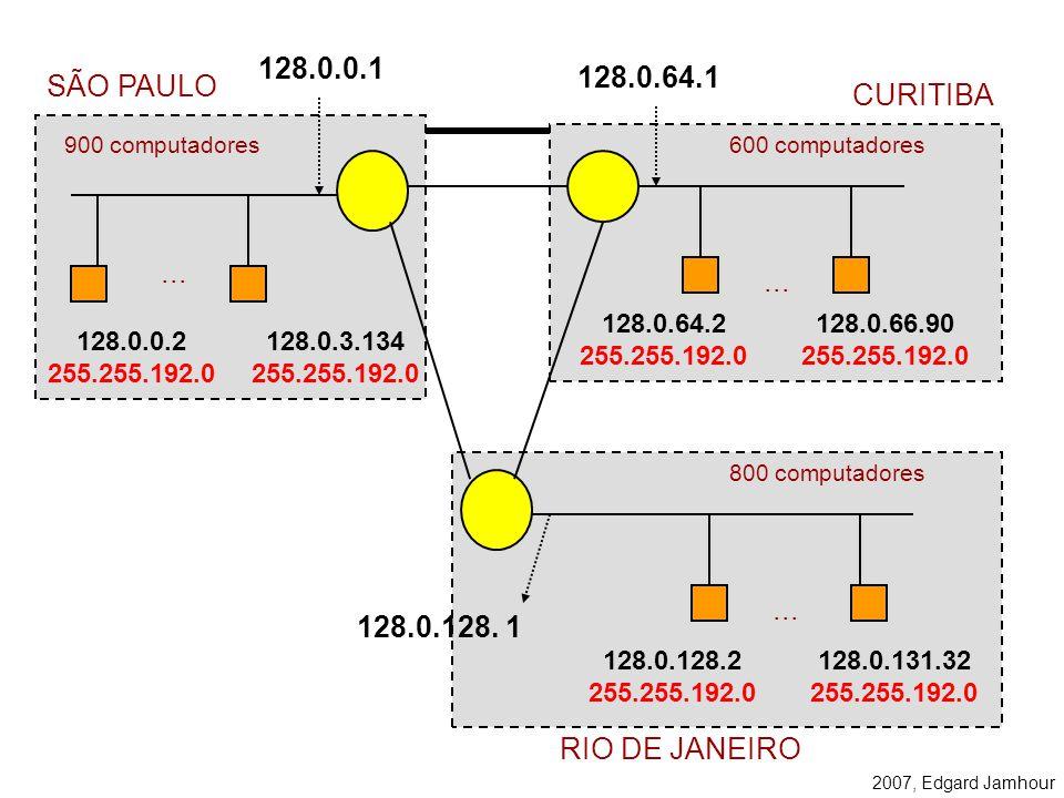 2007, Edgard Jamhour Exemplo Por default, a máscara de uma rede classe B é –255.255.0.0. –11111111. 11111111. 00000000. 00000000. Para dividir a rede