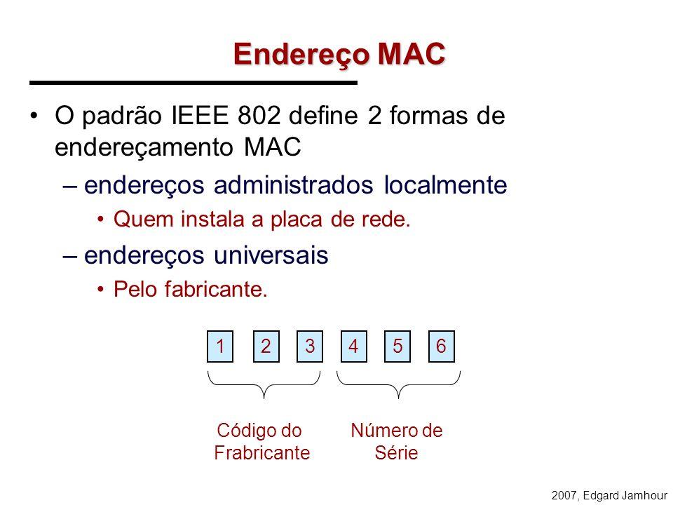 2007, Edgard Jamhour Mapeamento de Endereços O endereços IP são endereços temporários. O verdadeiro identificador da estação para rede é o endereço MA