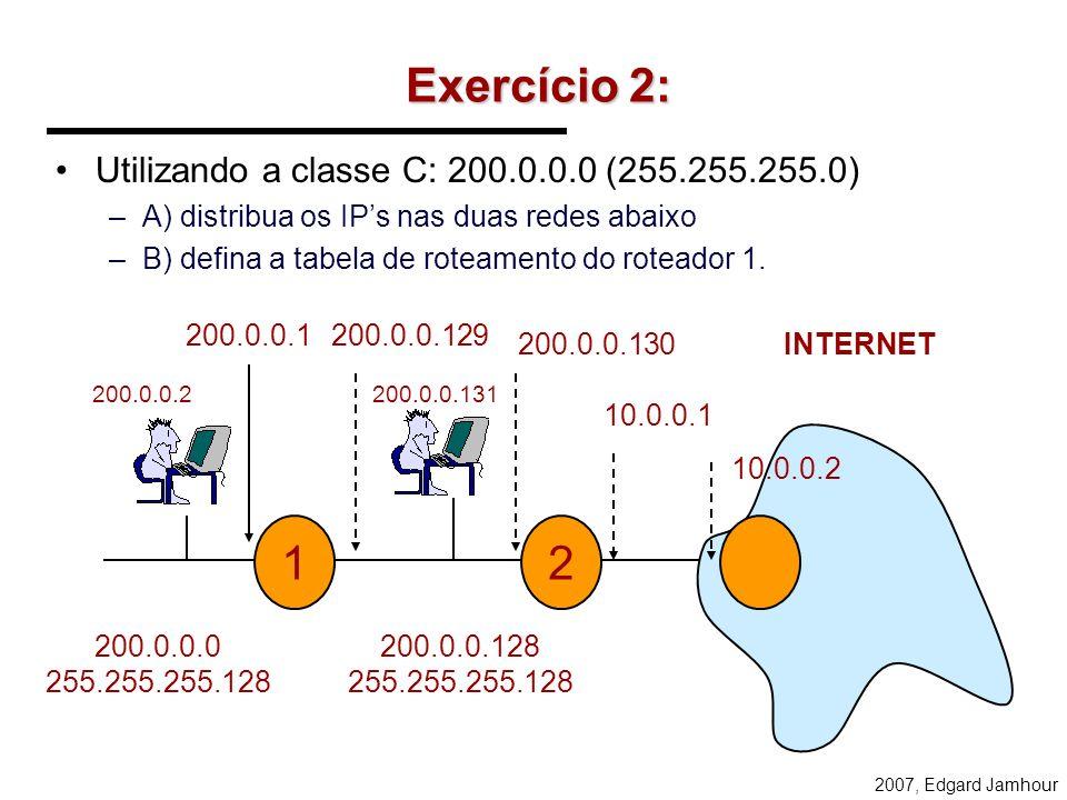 2007, Edgard Jamhour TABELA DE ROTEAMENTO Rede DestinoMascaraGatewayCustoInterface 200.134.51.0 255.255.255.0 200.134.51.1 1 200.17.98.0 255.255.255.0
