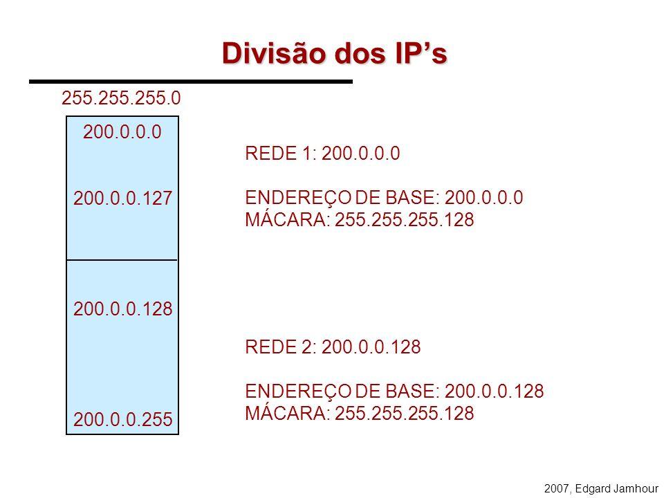 2007, Edgard Jamhour Exercício 2: Utilizando a classe C: 200.0.0.0 (255.255.255.0) –A) distribua os IPs nas duas redes abaixo –B) defina a tabela de r