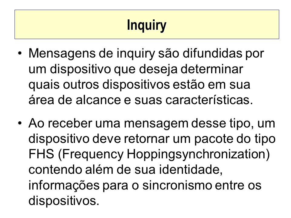 Inquiry Mensagens de inquiry são difundidas por um dispositivo que deseja determinar quais outros dispositivos estão em sua área de alcance e suas car