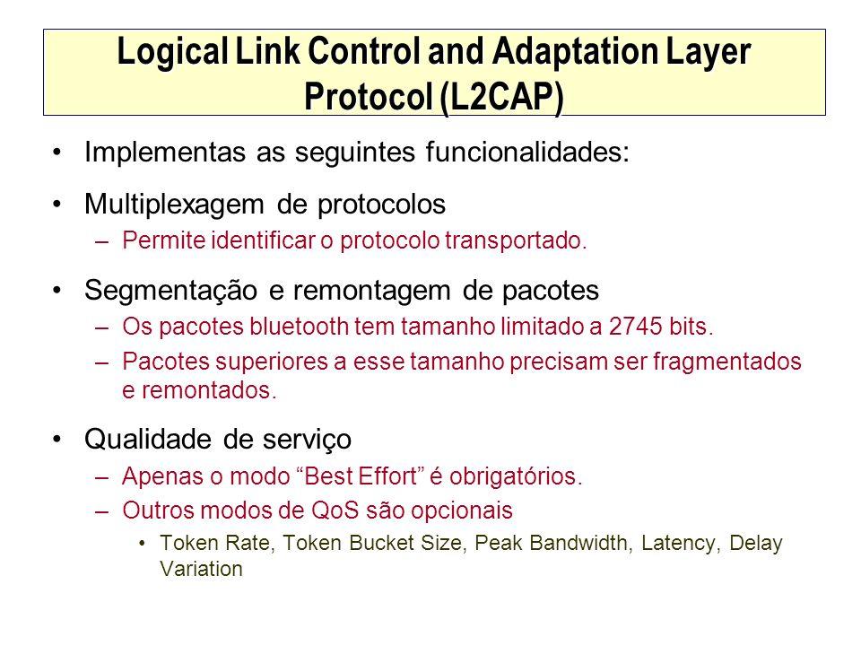 Logical Link Control and Adaptation Layer Protocol (L2CAP) Implementas as seguintes funcionalidades: Multiplexagem de protocolos –Permite identificar