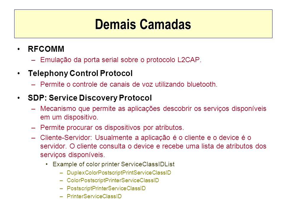 Demais Camadas RFCOMM –Emulação da porta serial sobre o protocolo L2CAP. Telephony Control Protocol –Permite o controle de canais de voz utilizando bl