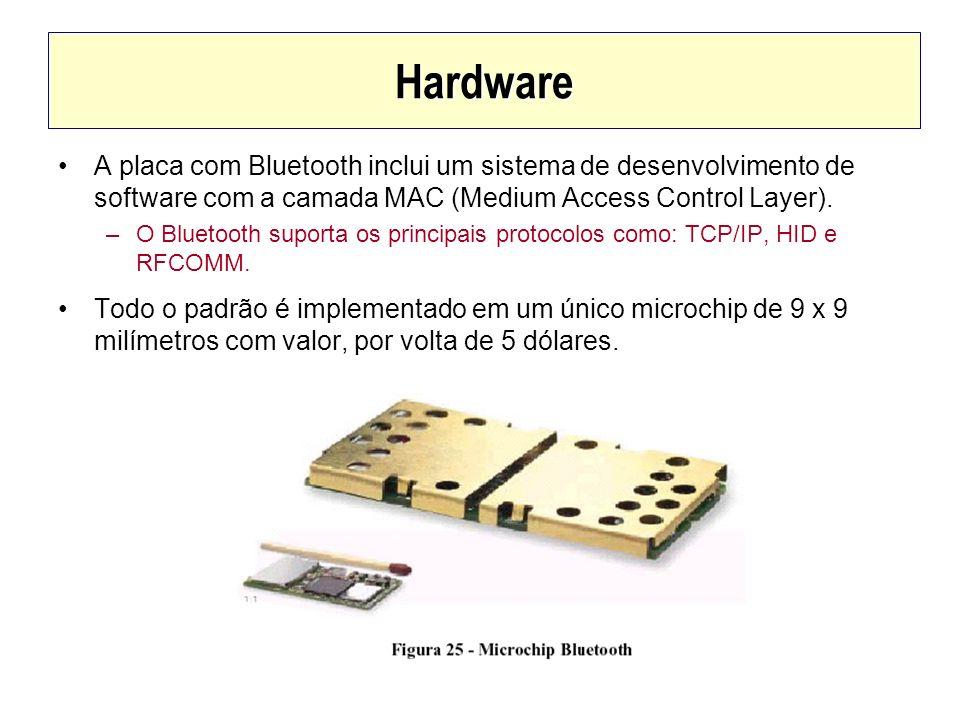 Hardware A placa com Bluetooth inclui um sistema de desenvolvimento de software com a camada MAC (Medium Access Control Layer). –O Bluetooth suporta o