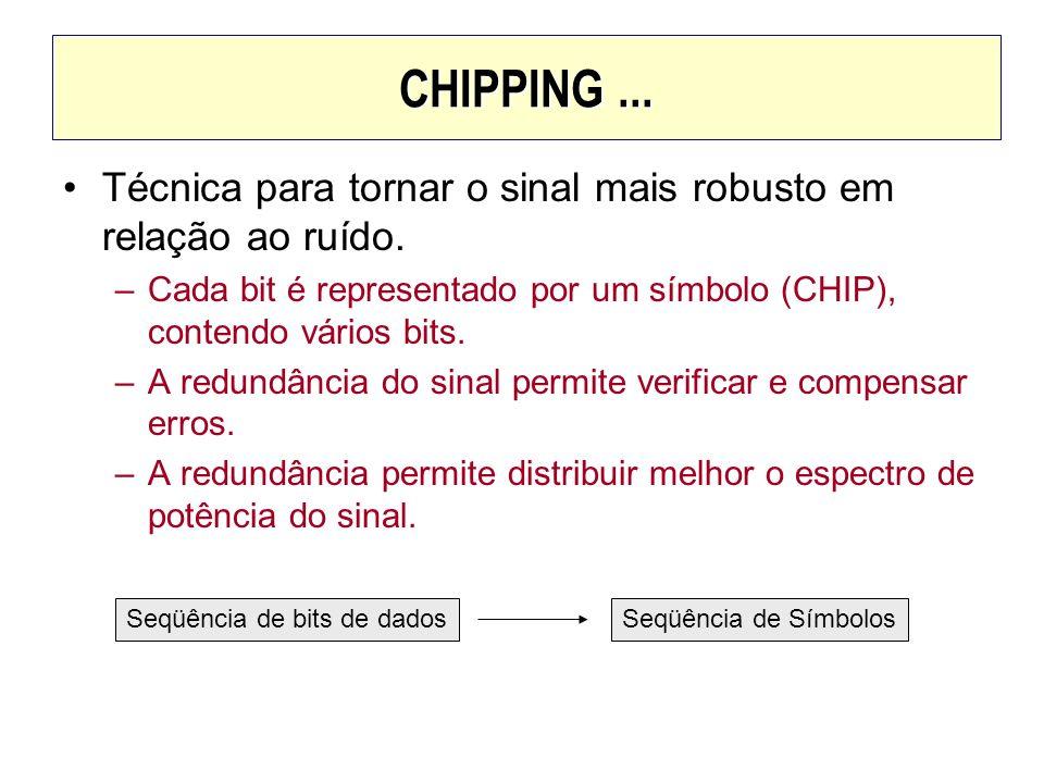 CHIPPING... Técnica para tornar o sinal mais robusto em relação ao ruído. –Cada bit é representado por um símbolo (CHIP), contendo vários bits. –A red