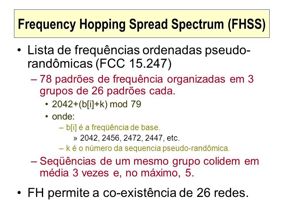 Frequency Hopping Spread Spectrum (FHSS) Lista de frequências ordenadas pseudo- randômicas (FCC 15.247) –78 padrões de frequência organizadas em 3 gru