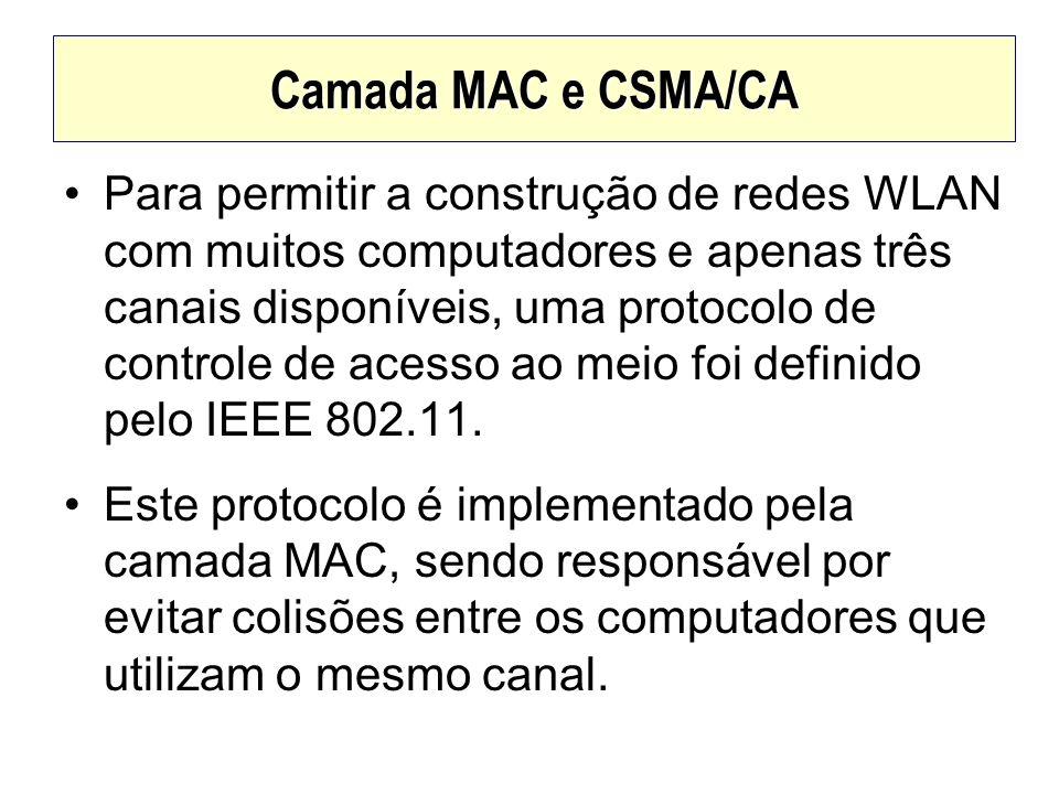 Camada MAC e CSMA/CA Para permitir a construção de redes WLAN com muitos computadores e apenas três canais disponíveis, uma protocolo de controle de a