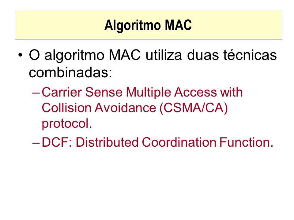 Algoritmo MAC O algoritmo MAC utiliza duas técnicas combinadas: –Carrier Sense Multiple Access with Collision Avoidance (CSMA/CA) protocol. –DCF: Dist