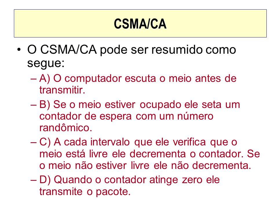CSMA/CA O CSMA/CA pode ser resumido como segue: –A) O computador escuta o meio antes de transmitir. –B) Se o meio estiver ocupado ele seta um contador