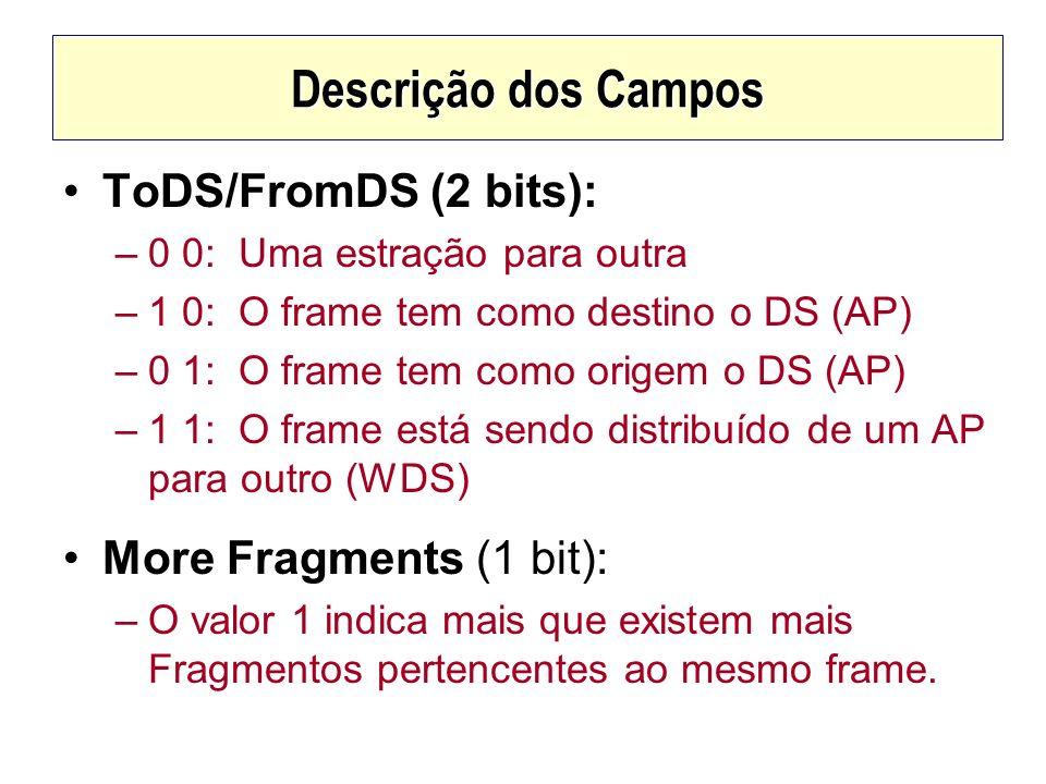 Descrição dos Campos ToDS/FromDS (2 bits): –0 0: Uma estração para outra –1 0: O frame tem como destino o DS (AP) –0 1: O frame tem como origem o DS (