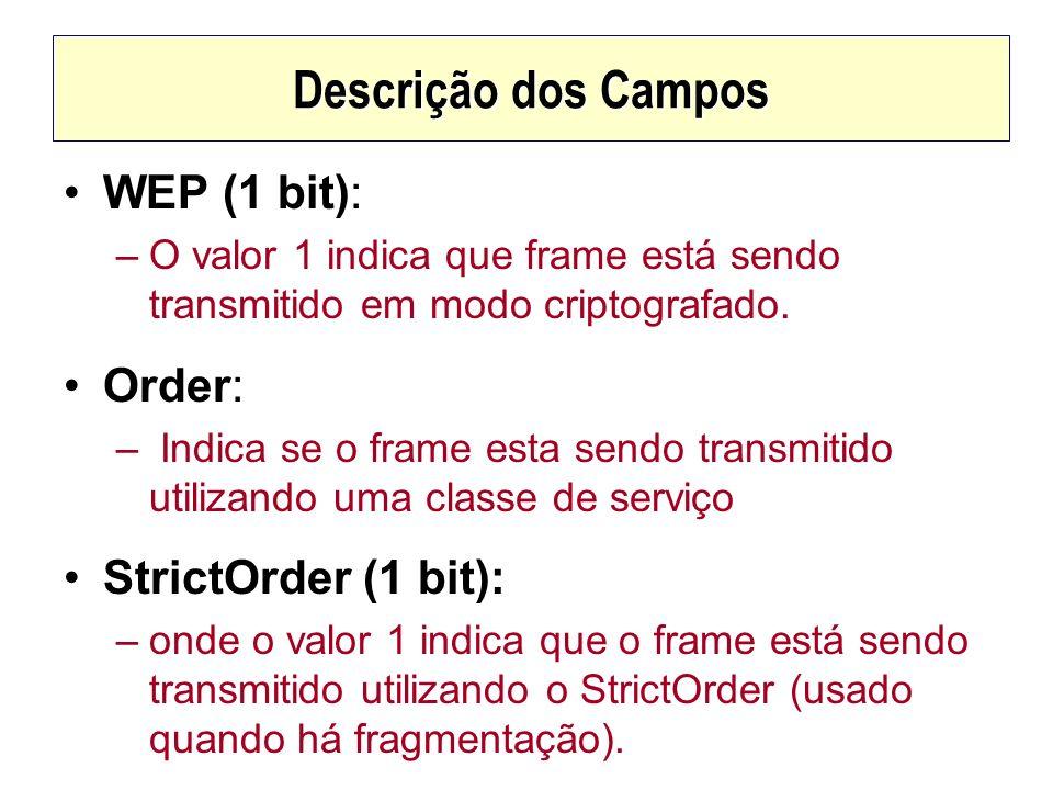 Descrição dos Campos WEP (1 bit): –O valor 1 indica que frame está sendo transmitido em modo criptografado. Order: – Indica se o frame esta sendo tran