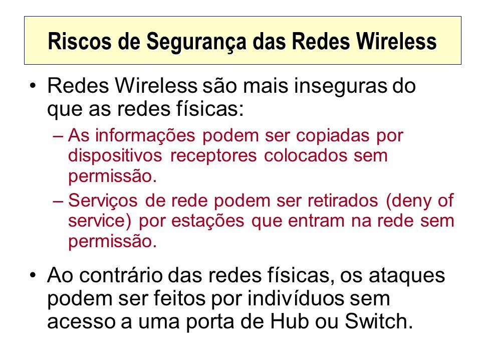 Riscos de Segurança das Redes Wireless Redes Wireless são mais inseguras do que as redes físicas: –As informações podem ser copiadas por dispositivos