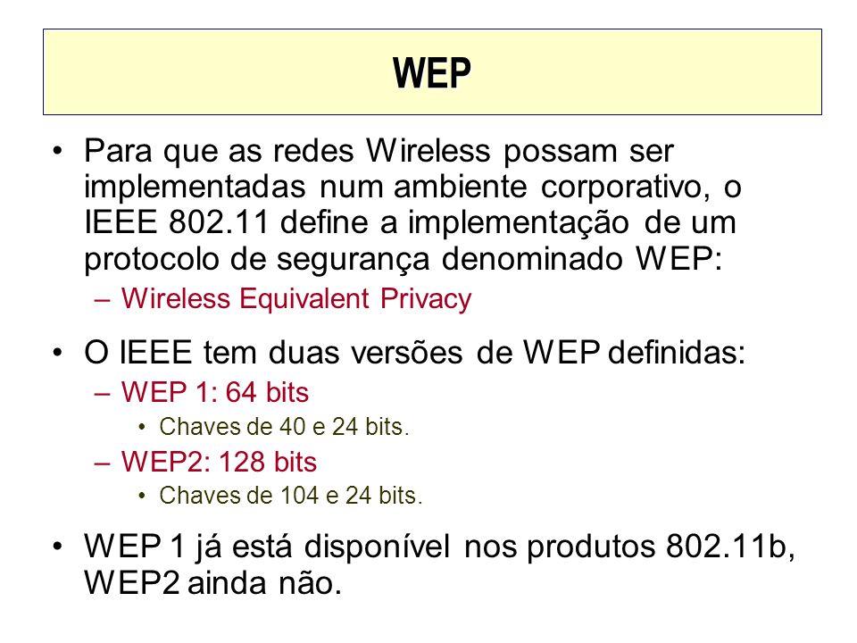 WEP Para que as redes Wireless possam ser implementadas num ambiente corporativo, o IEEE 802.11 define a implementação de um protocolo de segurança de