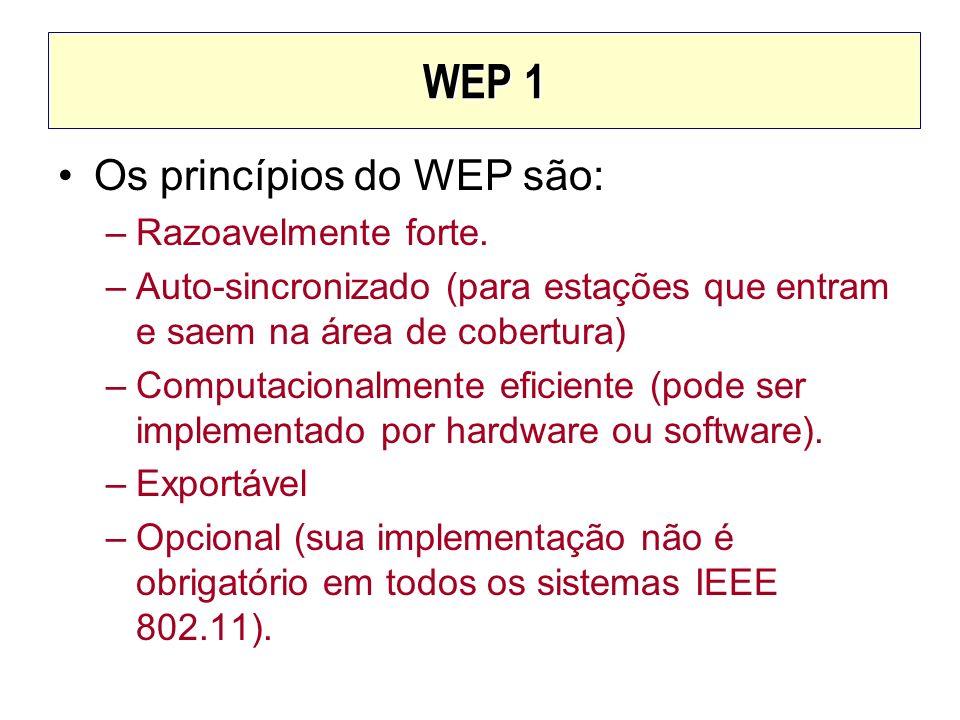 WEP 1 Os princípios do WEP são: –Razoavelmente forte. –Auto-sincronizado (para estações que entram e saem na área de cobertura) –Computacionalmente ef