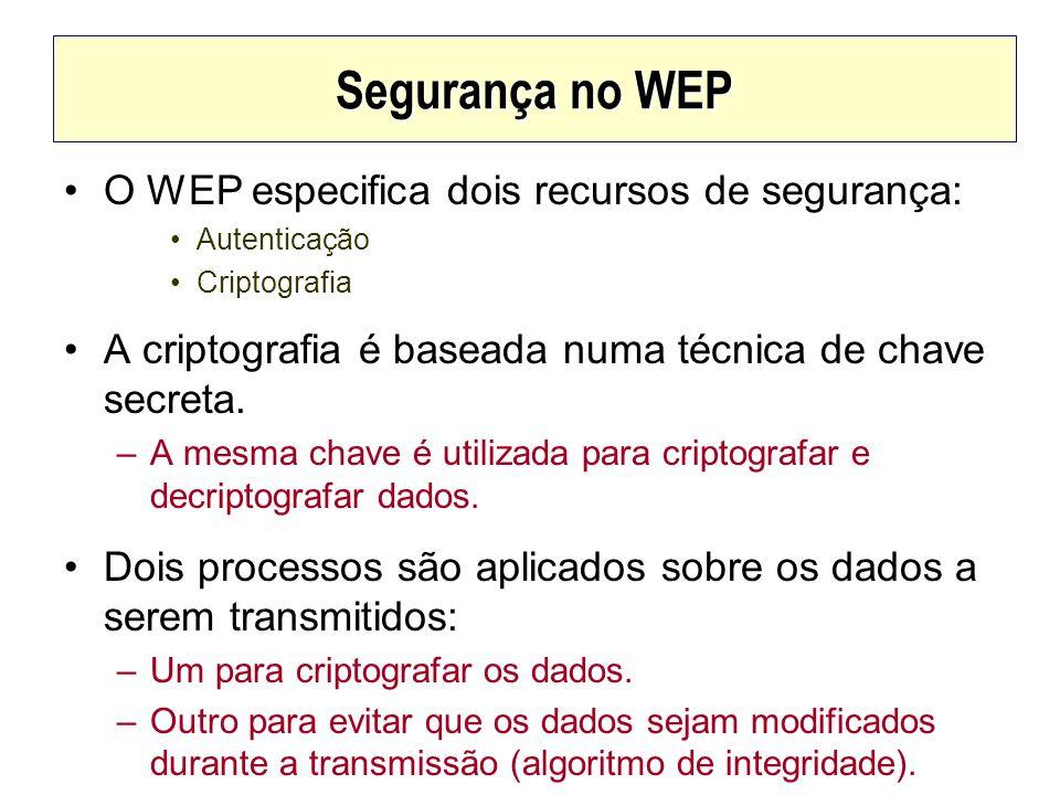 Segurança no WEP O WEP especifica dois recursos de segurança: Autenticação Criptografia A criptografia é baseada numa técnica de chave secreta. –A mes