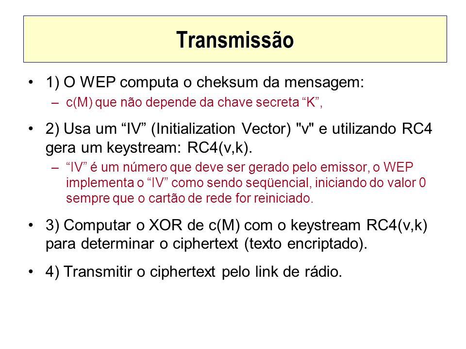 Transmissão 1) O WEP computa o cheksum da mensagem: –c(M) que não depende da chave secreta K, 2) Usa um IV (Initialization Vector)