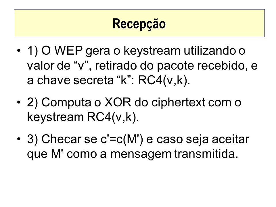 Recepção 1) O WEP gera o keystream utilizando o valor de v, retirado do pacote recebido, e a chave secreta k: RC4(v,k). 2) Computa o XOR do ciphertext