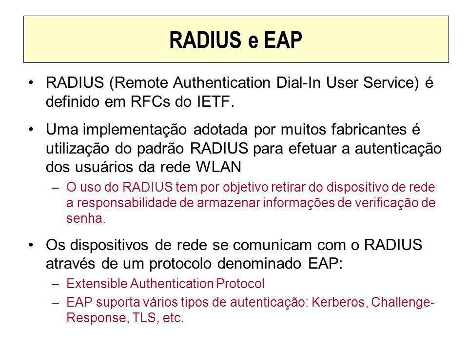 RADIUS e EAP RADIUS (Remote Authentication Dial-In User Service) é definido em RFCs do IETF. Uma implementação adotada por muitos fabricantes é utiliz