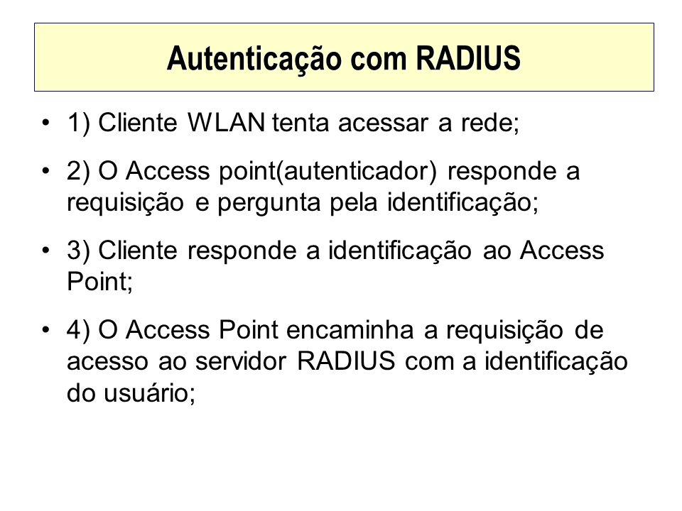 Autenticação com RADIUS 1) Cliente WLAN tenta acessar a rede; 2) O Access point(autenticador) responde a requisição e pergunta pela identificação; 3)