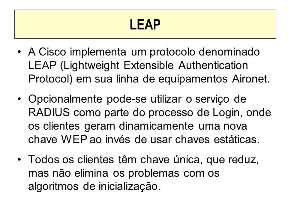 LEAP A Cisco implementa um protocolo denominado LEAP (Lightweight Extensible Authentication Protocol) em sua linha de equipamentos Aironet. Opcionalme