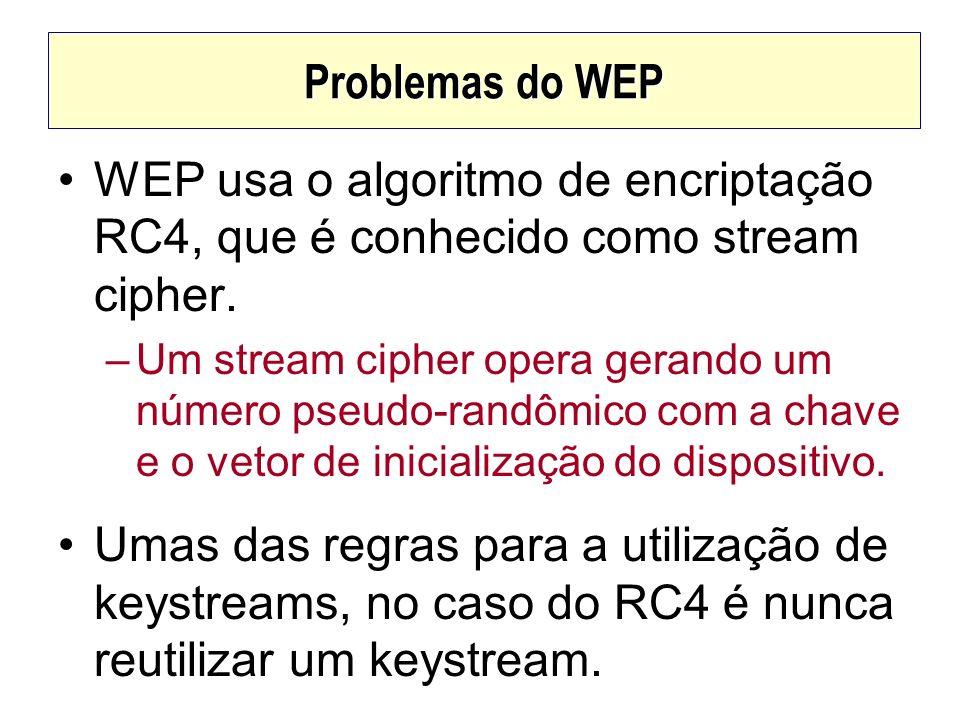 Problemas do WEP WEP usa o algoritmo de encriptação RC4, que é conhecido como stream cipher. –Um stream cipher opera gerando um número pseudo-randômic