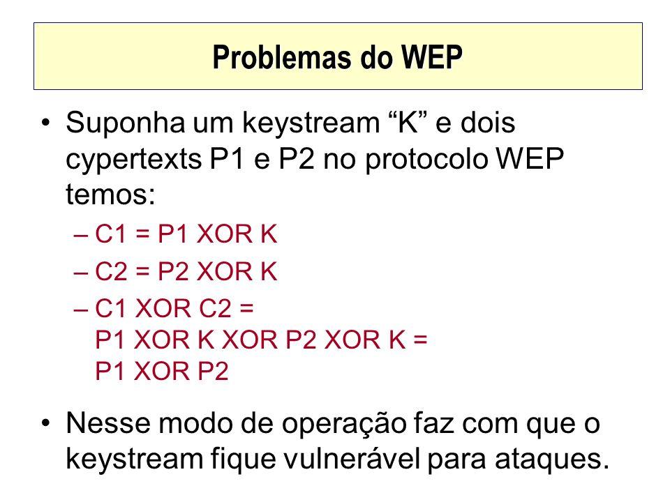 Problemas do WEP Suponha um keystream K e dois cypertexts P1 e P2 no protocolo WEP temos: –C1 = P1 XOR K –C2 = P2 XOR K –C1 XOR C2 = P1 XOR K XOR P2 X