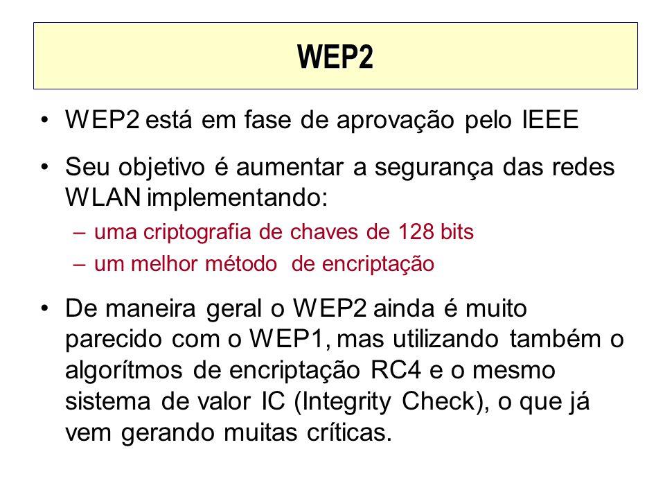 WEP2 WEP2 está em fase de aprovação pelo IEEE Seu objetivo é aumentar a segurança das redes WLAN implementando: –uma criptografia de chaves de 128 bit