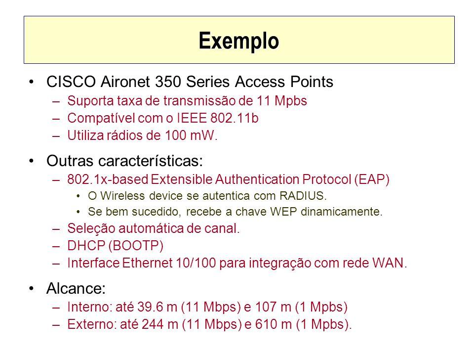 Exemplo CISCO Aironet 350 Series Access Points –Suporta taxa de transmissão de 11 Mpbs –Compatível com o IEEE 802.11b –Utiliza rádios de 100 mW. Outra