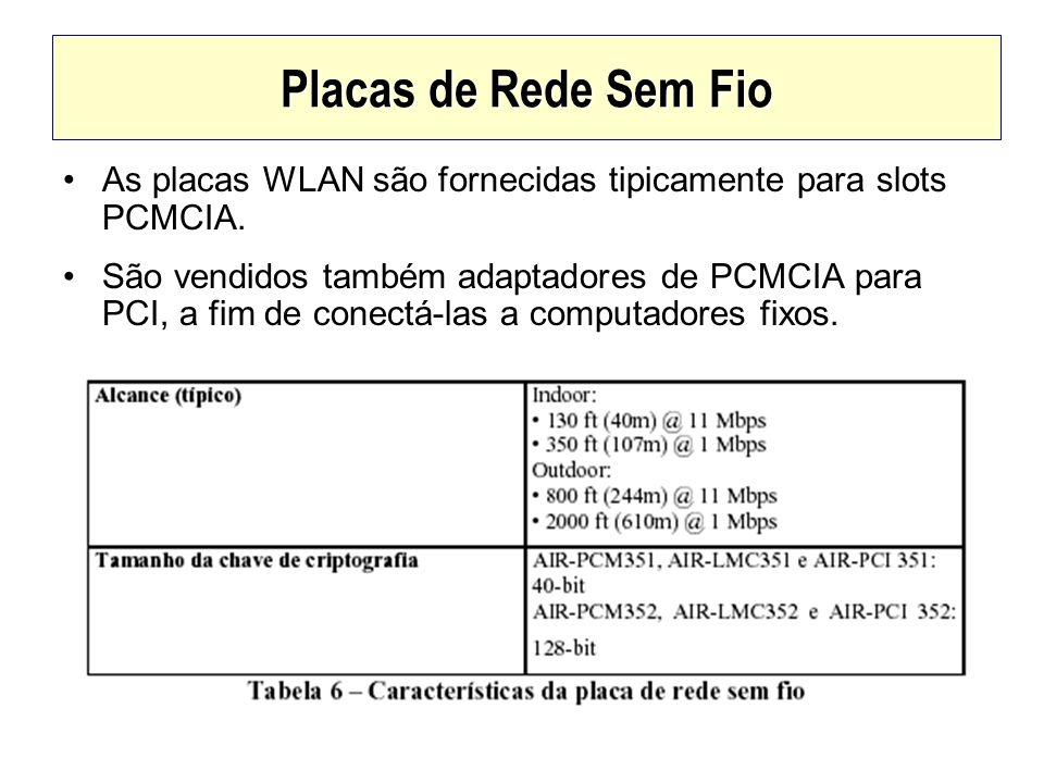 Placas de Rede Sem Fio As placas WLAN são fornecidas tipicamente para slots PCMCIA. São vendidos também adaptadores de PCMCIA para PCI, a fim de conec