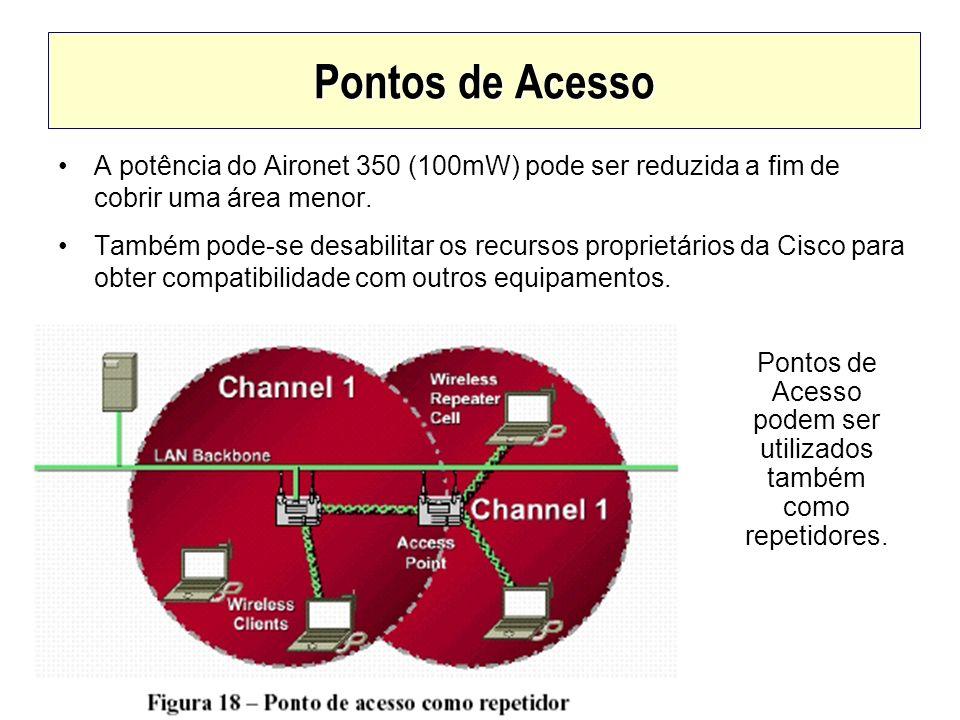 Pontos de Acesso A potência do Aironet 350 (100mW) pode ser reduzida a fim de cobrir uma área menor. Também pode-se desabilitar os recursos proprietár