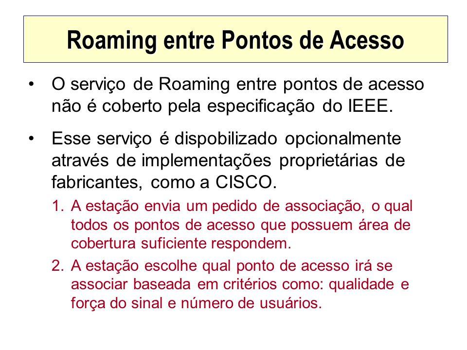Roaming entre Pontos de Acesso O serviço de Roaming entre pontos de acesso não é coberto pela especificação do IEEE. Esse serviço é dispobilizado opci