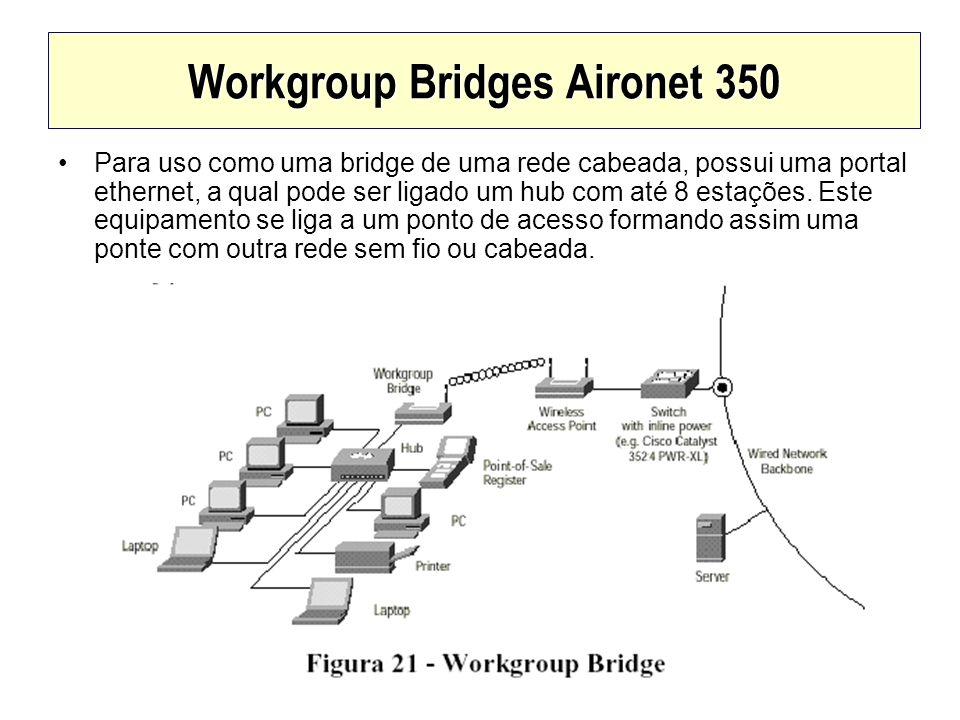 Workgroup Bridges Aironet 350 Para uso como uma bridge de uma rede cabeada, possui uma portal ethernet, a qual pode ser ligado um hub com até 8 estaçõ