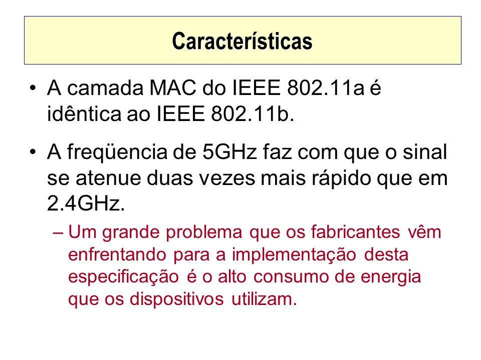 Características A camada MAC do IEEE 802.11a é idêntica ao IEEE 802.11b. A freqüencia de 5GHz faz com que o sinal se atenue duas vezes mais rápido que