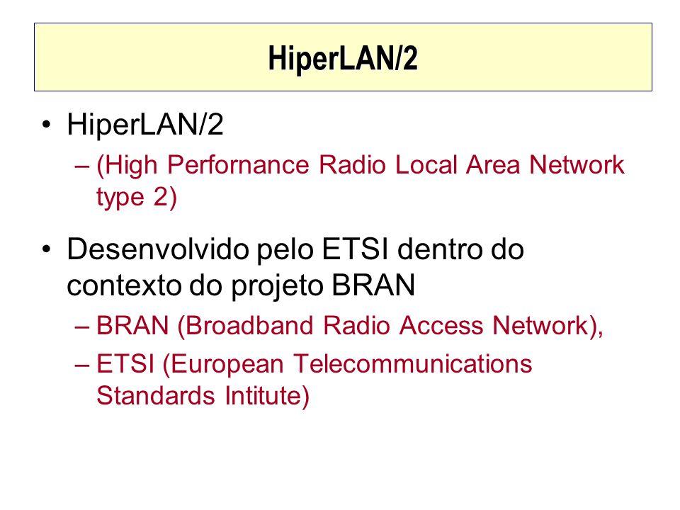 HiperLAN/2 HiperLAN/2 –(High Perfornance Radio Local Area Network type 2) Desenvolvido pelo ETSI dentro do contexto do projeto BRAN –BRAN (Broadband R