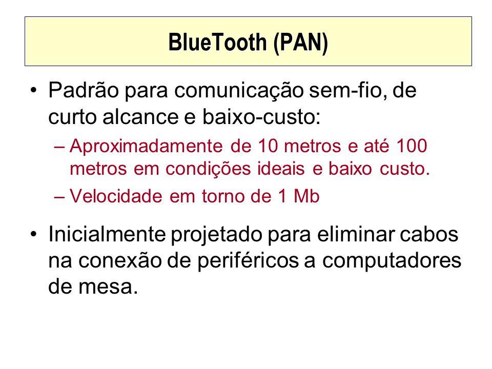 BlueTooth (PAN) Padrão para comunicação sem-fio, de curto alcance e baixo-custo: –Aproximadamente de 10 metros e até 100 metros em condições ideais e