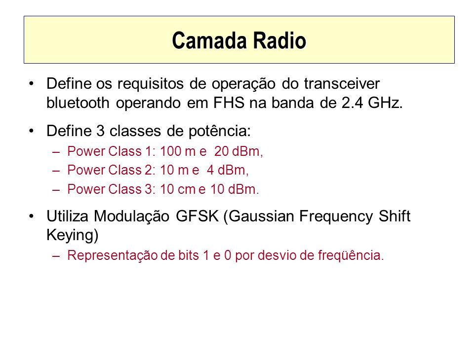 Camada Radio Define os requisitos de operação do transceiver bluetooth operando em FHS na banda de 2.4 GHz. Define 3 classes de potência: –Power Class