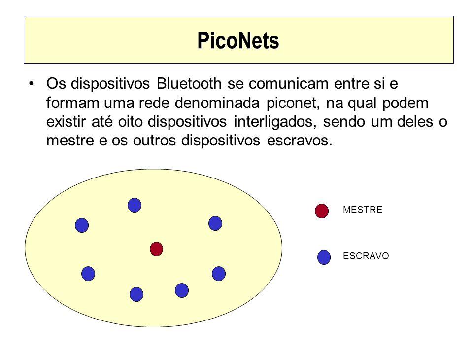 PicoNets Os dispositivos Bluetooth se comunicam entre si e formam uma rede denominada piconet, na qual podem existir até oito dispositivos interligado