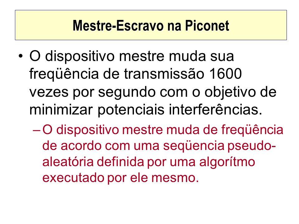Mestre-Escravo na Piconet O dispositivo mestre muda sua freqüência de transmissão 1600 vezes por segundo com o objetivo de minimizar potenciais interf